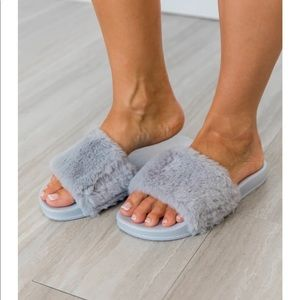 Sliding Into Comfort Fuzzy Slippers Grey -new
